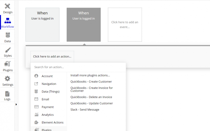Quickbook Bubble actions